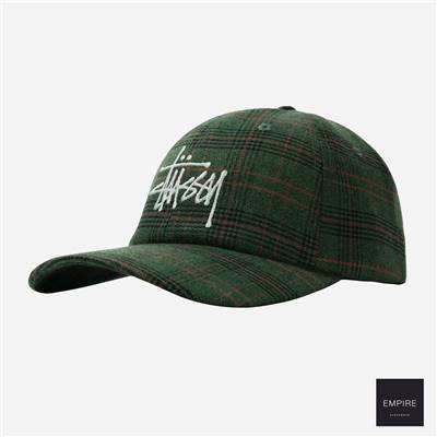 STUSSY BIG LOGO PLAID LOW PRO CAP - Green