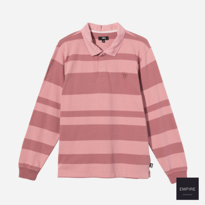 STUSSY 2 TONE STRIPE LS RUGBY - Pink