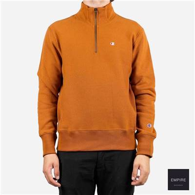 CHAMPION HALF ZIP SWEATSHIRT - Ochre