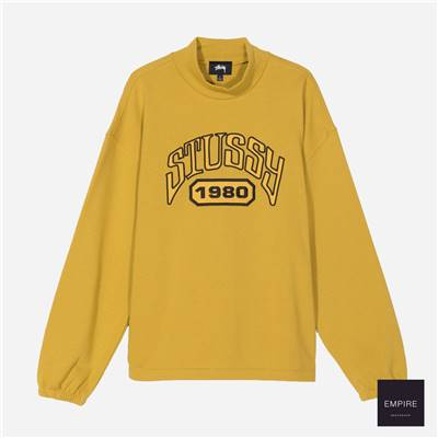 STUSSY TRIBUTE TERRY MOCK NECK - Mustard