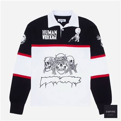 FUCKING AWESOME SPONSORED RUGBY SHIRT - Black White Red