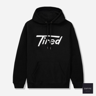 TIRED LONG T PULLOVER HOODIE - Black