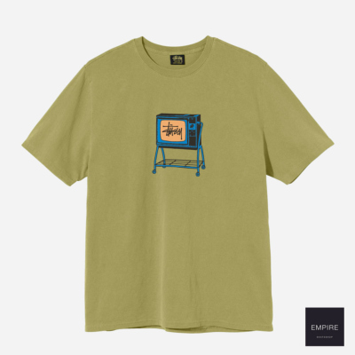STUSSY ROLLING TV TEE PIG DYED - Citron