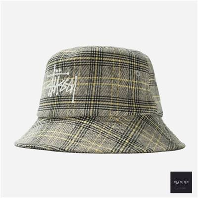 STUSSY BIG LOGO PLAID BUCKET HAT - Off White