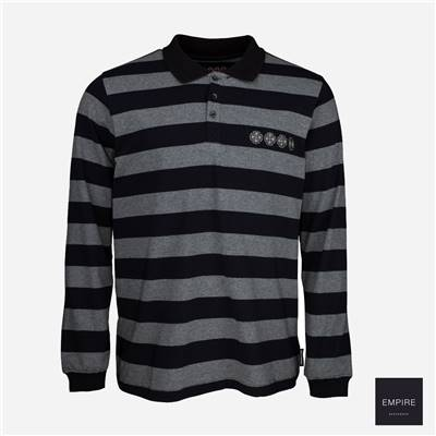 INDEPENDENT CHAIN CROSS RUGBY SHIRT - Black Stripe