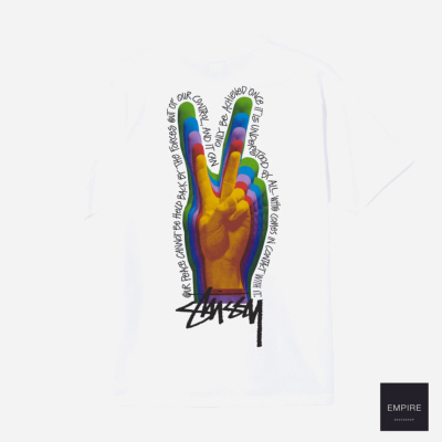 STUSSY PEACE SIGN TEE - White