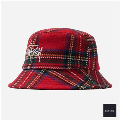 STUSSY BIG LOGO PLAID BUCKET HAT - Red