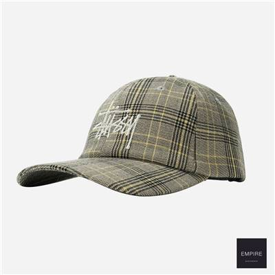 STUSSY BIG LOGO PLAID LOW PRO CAP - Off White